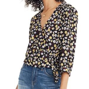 Madewell French Floral Wrap Top Medium NWOT
